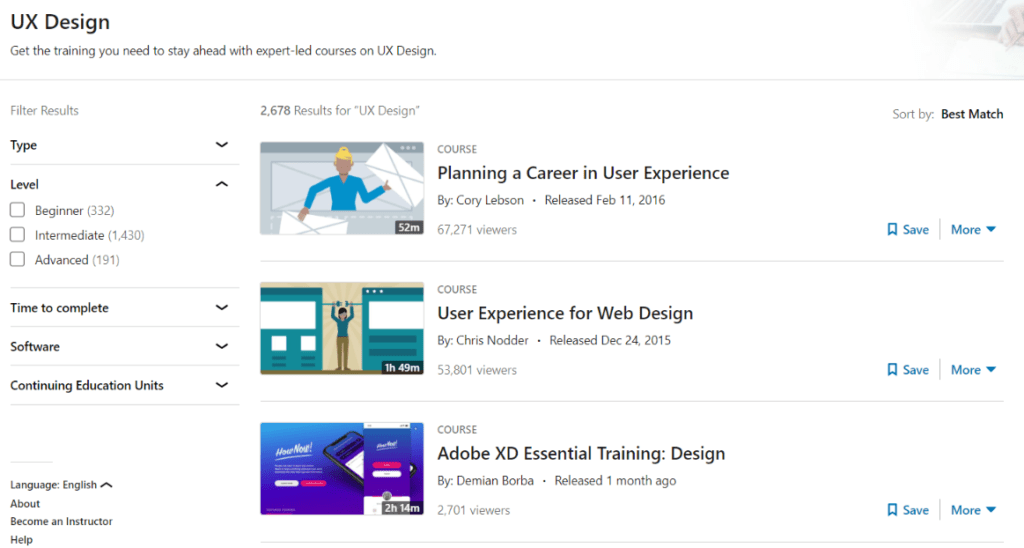 migliori corsi ux design linkedin learning