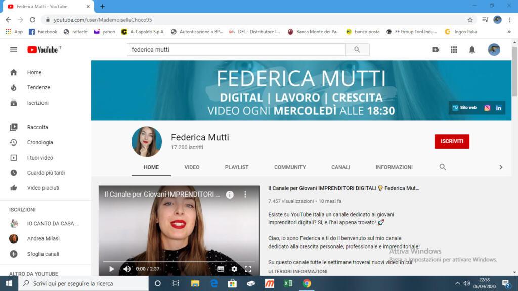 Canale YouTube di Federica Mutti