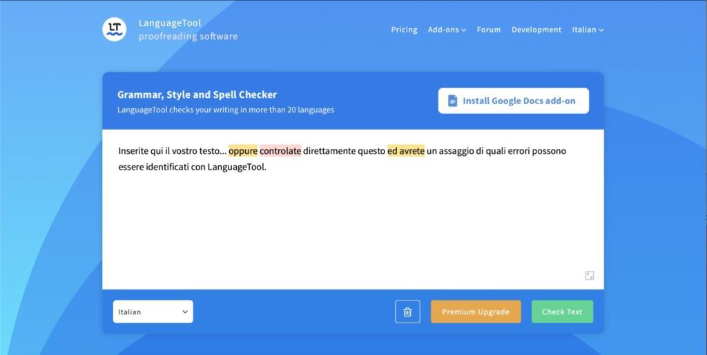 Language Tool è l'app per la produttività che ti permette di scrivere senza errori
